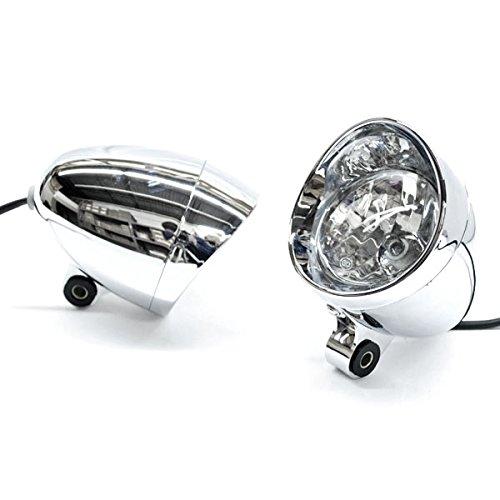 Krator Custom Chrome Passing Fog Headlight Head Light For Honda VTX 1300 C R S RETRO