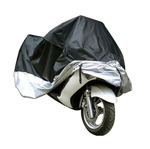 TESWNE Waterproof Outdoor UV Protector Rain Dust Motorbike Motorcycle Cover Medium-Black and SilverXXL