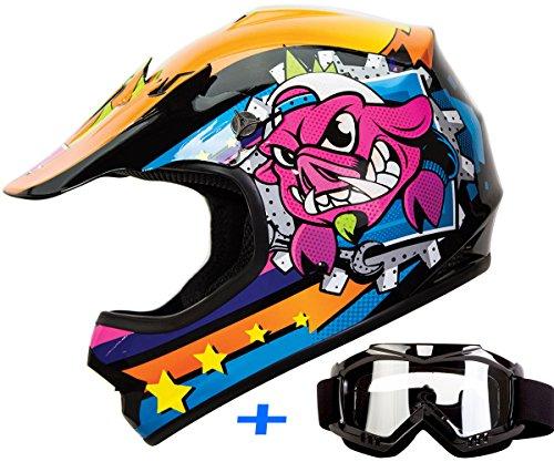 Youth Kid Motocross Motorsport ATV UTV Dirt Bike Helmet Goggles Combo Deal DOT XL War-Hog Jr