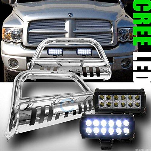 CHROME BULL BAR BUMPER GUARD V236W CREE LED FOG LIGHTS 20022003-2009 DODGE RAM