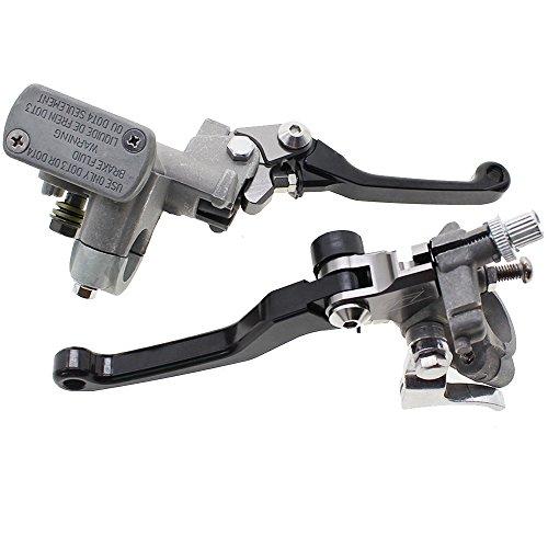 FXCNC CNC Universal 78 Clutch Brake Levers Master Cylinder Reservoir Set for fit Honda CRF150R 2007-2012 CRF250R 2004-2012 CRF450R 2002-2012 Black