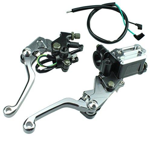 FXCNC Racing Billet Universal 78 Dirt Bike Clutch Brake Levers Master Cylinder Reservoir Fit For Honda CRF150R 2007-2014 CR125R250R 1992-2007CRF250R 2007-2014 Motocross Adjustable