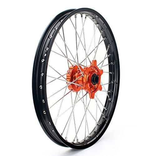 TARAZON 21 MX Front Wheel Kit Rim Orange Hub Spokes for KTM SX 125 150 250 XC XC-F 250 XC EXC-F SX-F 300 350 450 2015 2016 With 22mm axle spacers