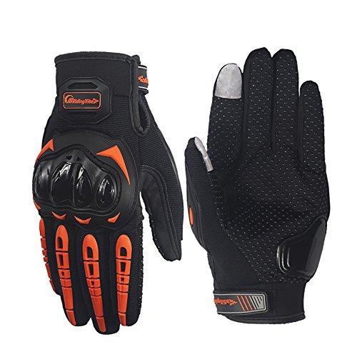 LKN 1 Pair Motorbike Riding Gloves Full Finger Motorcycle Sports Mountain Bike Protection Gloves Orange