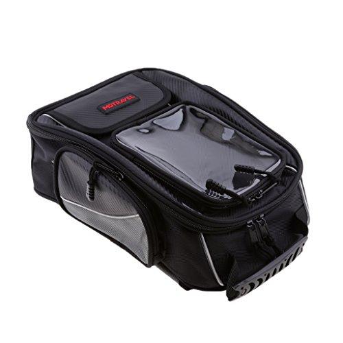 MonkeyJack Universal Oil Fuel Tank Bag  Tail Bag Luggage with Magnetic Motorbike Riding Bag Black