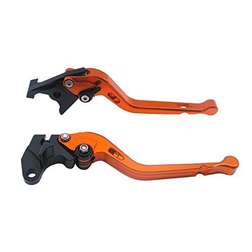 1 Set Front Brake Clutch Long Handle LeversECLEAR Motorcycle Adjustable Brake Master Cylinder For Suzuki 600 750KATANA 1998-2006 DL650 V-STROM 2004-2010 - Orange
