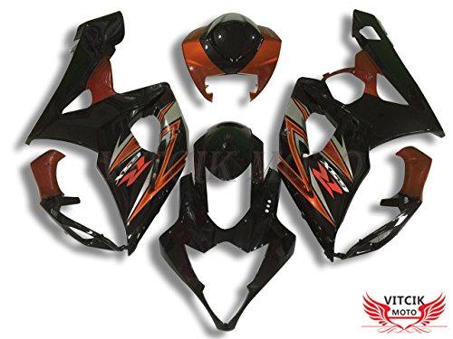 VITCIK Fairing Kits Fit for Suzuki GSXR1000 K5 2005 2006 GSXR 1000 GSX R1000 K5 05 06 Plastic ABS Injection Mold Complete Motorcycle Body Aftermarket Bodywork Frame Black Orange A058