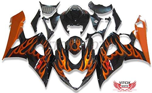 VITCIK Fairing Kits Fit for Suzuki GSXR1000 K5 2005 2006 GSXR 1000 GSX R1000 K5 05 06 Plastic ABS Injection Mold Complete Motorcycle Body Aftermarket Bodywork Frame Orange Black A069