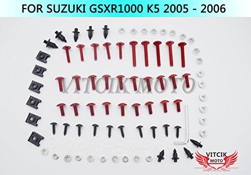 VITCIK Full Fairings Bolt Screw Kits for Suzuki GSXR1000 K5 2005 2006 GSXR 1000 K5 05 06 Motorcycle Fastener CNC Aluminium Clips Red Silver