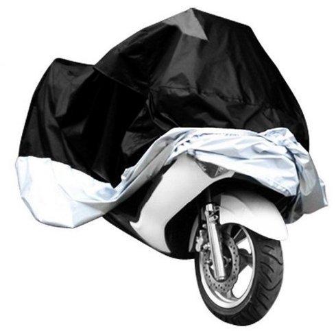 All Weather Waterproof Sun proof Motorcycle Motorbike Cover Outdoor Indoor Protective Dustproof Cover for Harley Davison Honda Yamaha Suzuki XL BlackSliver