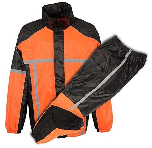 MENS MOTORCYCLE MOTORBIKE 100 NYLON RAIN SUIT GEAR LIME ORANGE DURABLE 3X - Big Orange
