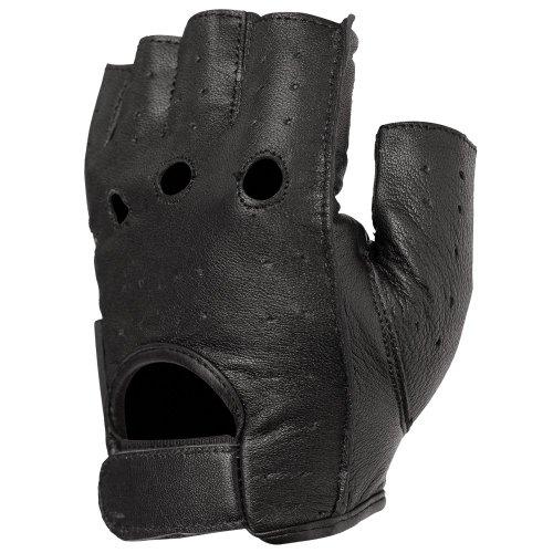 STREET STEEL Fingerless Leather Motorcycle Gloves - XL Black