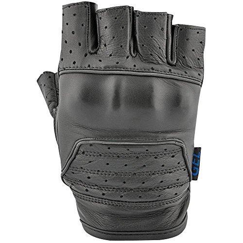 STREET STEEL Sawed Off Fingerless Leather Motorcycle Gloves - XL Black