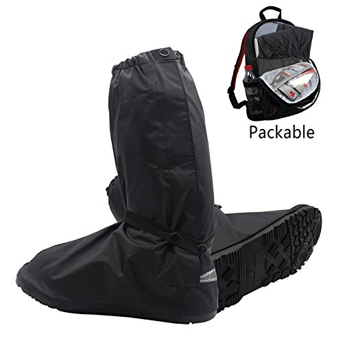 Resuable Shoes Cover - Portable Waterproof Motorcycle Bike Boot Shoes Cover Rainstorm Rainy Day Rain Gear Shoes Boots Cover with Side Zippered and Velcro for Men Women US 95-145 Black XL