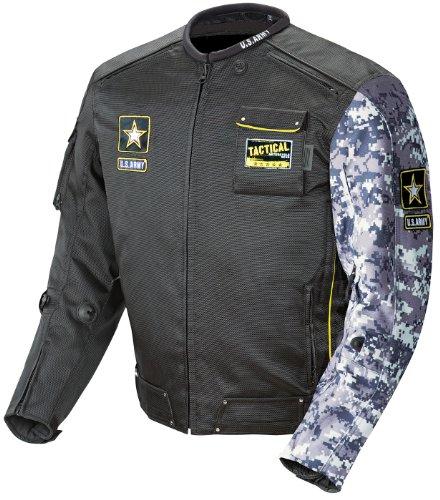 Joe Rocket US Army Alpha Mens Motorcycle Riding Jacket BlackGray Camo Large