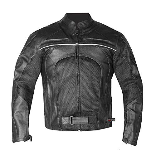 New Mens Razer Motorcycle Biker Armor Mesh Leather Black Riding Jacket XL