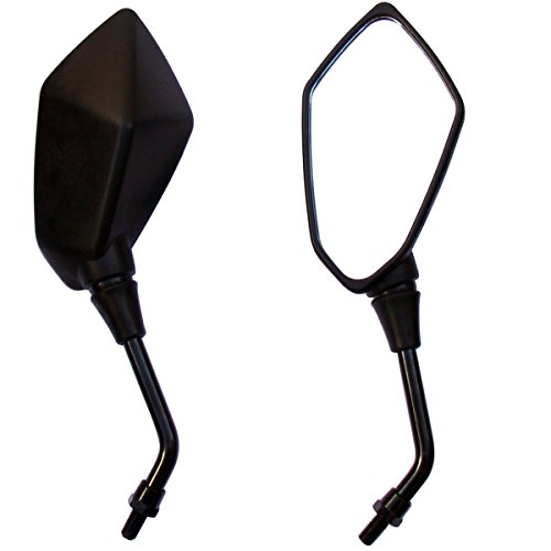 MotorToGo Black Pyramid Rear View Mirrors for 2012 Suzuki TU250X