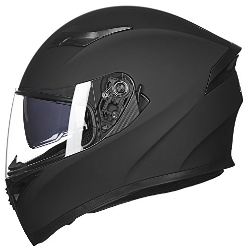 ILM 9 Colors Full Face Dual Visor Motorcycle Helmet DOT L MATTE BLACK
