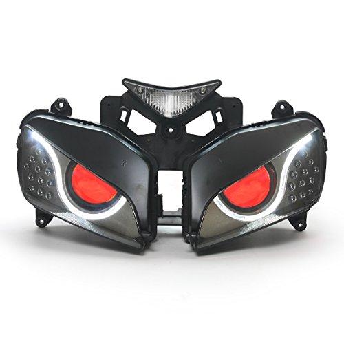 KT LED Optical Fiber Headlight Assembly for Honda CBR1000RR 2004-2007 V2 Red Demon Eye