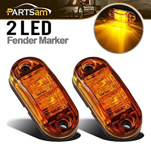 Partsam 2x Trailer Truck Surface Mount LED Oval 25 Amber Side Marker Lamp Bulb 2 Diodes Boat Marine LED Courtesy Lights 25 Inch Trailer led clearance and side marker lights