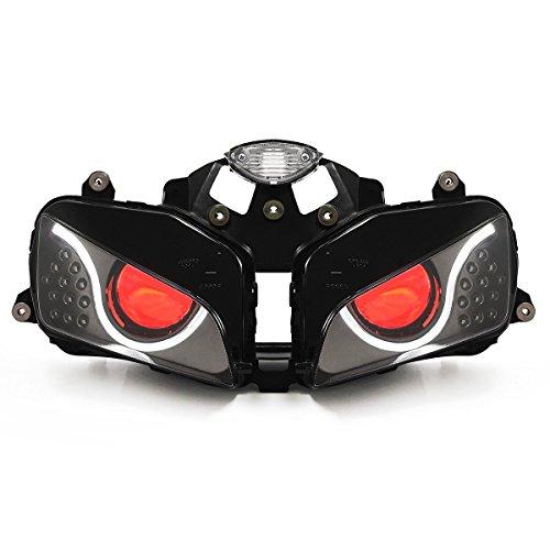 KT LED Optical Fiber Headlight Assembly for Honda CBR600RR 2003-2006 V2 Red Demon Eye