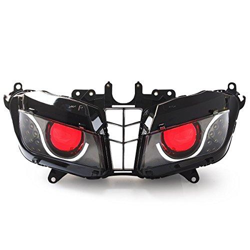 KT LED Optical Fiber Headlight Assembly for Honda CBR600RR 2013-2017 V2 Red Demon Eye