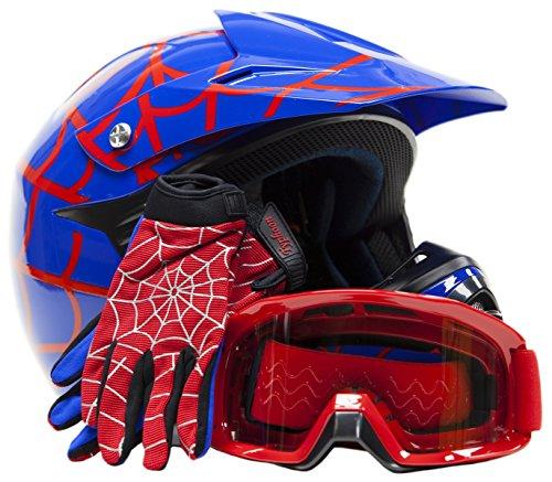Youth Kids Offroad Gear Combo Helmet Gloves Goggles DOT Motocross ATV Dirt Bike Motorcycle Blue Spiderman - Medium