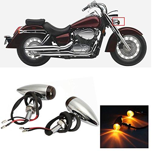 INNOGLOW Motorcycle Turn Signal Lights Bulb Amber Universal Lens Chrome Indicators Blinkers Lights for Custom Honda Suzuki Yamaha Kawasaki Harley Davidson Choppers Cruisers 2 PCS