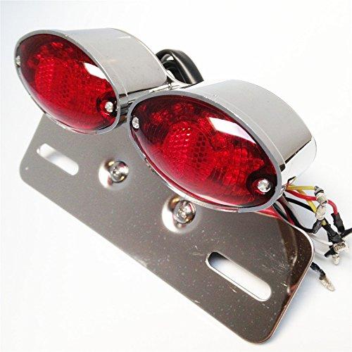 Chrome Red Universal Cat Eye Custom Motorcycle Tail Brake Turn Signal License Plate Light