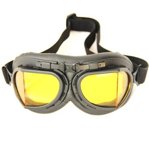 Wwii Raf Vintage Pilot Motorcycle Biker Cruiser Helmet Black Goggles Amber Lens