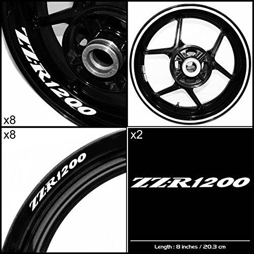 Stickman Vinyls Kawasaki ZZR 1200 Motorcycle Decal Sticker Package Gloss White Graphic Kit