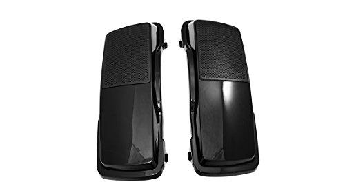 Vivid Black 6 x 9 Hard Saddlebag Speaker Lids with Raw Black Grills for Harley Touring