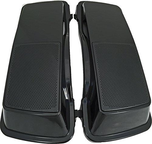 Vivid Black 6 x 9 Hard Saddlebag Speaker Lids with Vivid Black Grills for Harley Touring