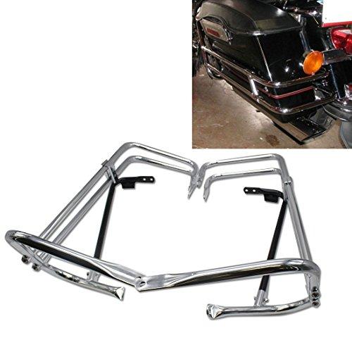 Chrome motorcycle Rear Heavy duty Saddlebag Bracket Guard Bars Rail For Harley HD Touring Street Glide FLHX EFI FLHXI 1997 1998 1999 2000 2001 2002 2003 2004 2005 2006 2007 2008