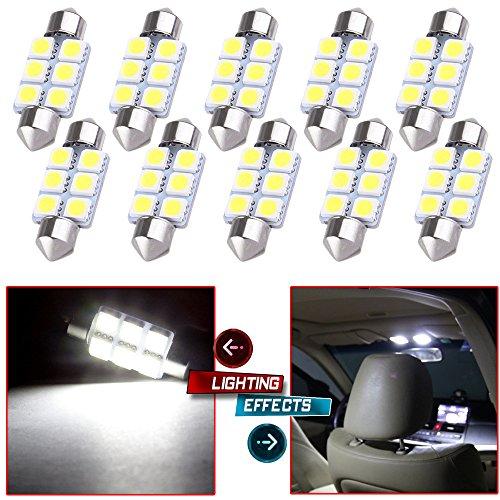CCIYU 10x Super White LED 5050 6SMD Bulbs 36MM Epistar Light Lamp DE3423 DE3425 for 1999-2003 BMW M5-E39 M5 MirrorVanity Sunvisor Light Glove Box Light License Plate Light