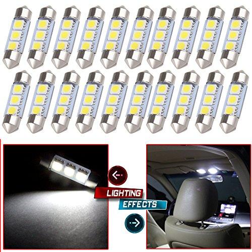 CCIYU 20x White 36MM 3SMD 5050 Bulbs Festoon LED Light Lamp 6461 DE3423 for 2002-2003 Audi S6 4B Dome Light MirrorVanity Sunvisor Light Glove Box Light License Plate Light