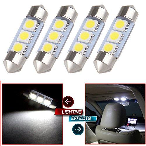 CCIYU 4x White 36MM 3SMD 5050 Festoon LED Light Bulbs 6461 DE3423 DE3425 C5W 3423 for 1996-2012 Audi A4 8D8E8H8K Dome Light MirrorVanity Sunvisor Light License Plate Light