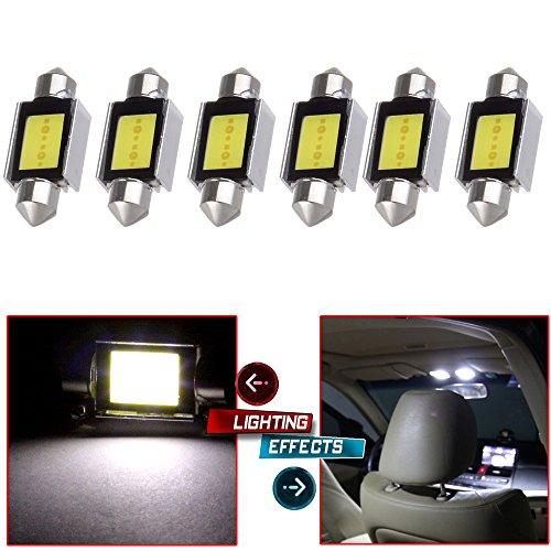 CCIYU 6x White Error Free CANbus 36mm 150 6418 C5W COB LED Bulbs DE3425 C5W for 2009 2010 2011 2012 Audi Q5 8R Dome Light MirrorVanity Sunvisor Light License Plate Light