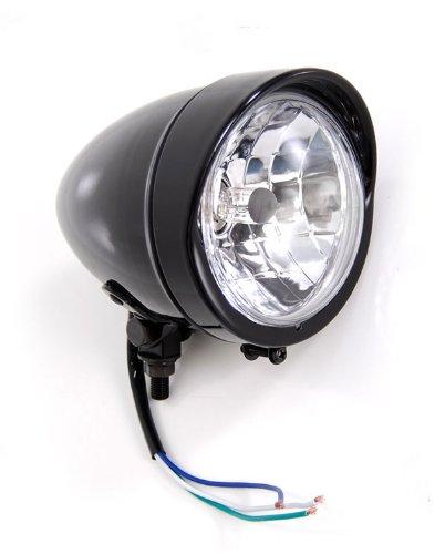 Gloss Black Headlight with Visor Light Lights fits Honda Yamaha Suzuki Kawasaki Motorcycle