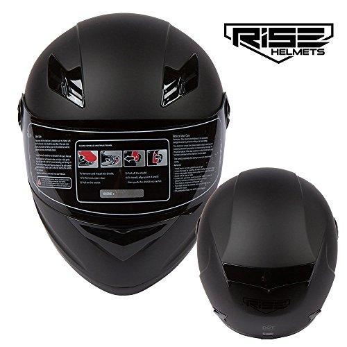 RISE Matte Black Motorcycle Helmet w Free Smoke Visor - Lightweight Full Face DOT Small