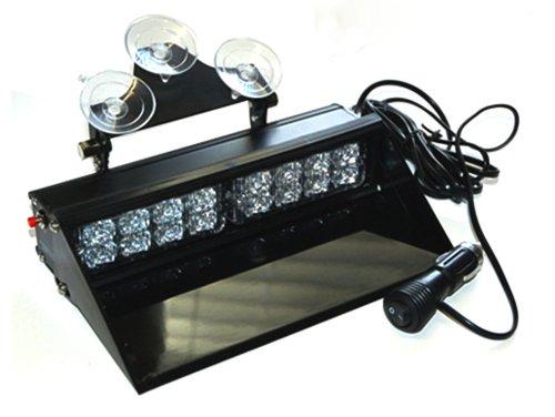 White Dual LED Dash Light 1 Watt Bracket Style Visor Strobe