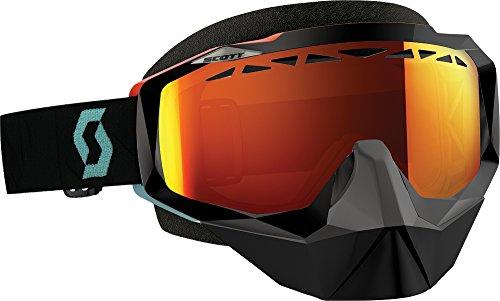 Scott Hustle Angled Mens Snocross Snowmobile Goggles Eyewear - BlackOrangeRed Chrome  One Size