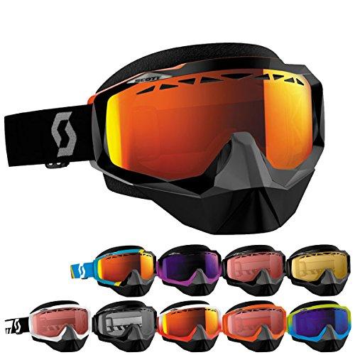 Scott Hustle Mens Snocross Snowmobile Goggles Eyewear - Asym BlueBlackYellow Chrome  One Size