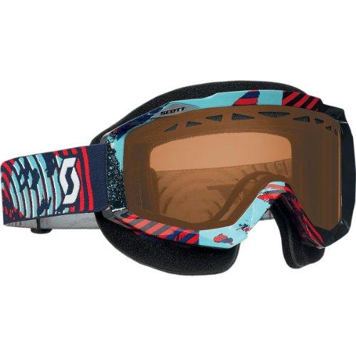 Scott Hustle Vinyl Adult Snowsport Snowmobile Goggles Eyewear - BlueRedACS Rose  One Size Fits All