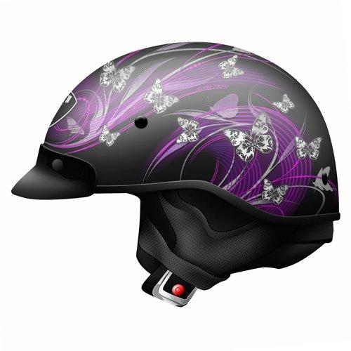 Zoan Helmets Route 66 Half Helmet - But Terfly Blkpurple - Xl 031-217