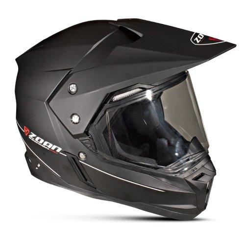 Zoan Synchrony Flat Matte Black Double Lens Dual Sport Snowmobile Helmet X-Large