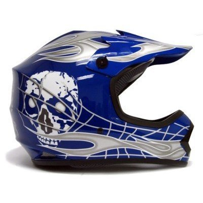 TMS Youth Kids Bluesilver Skull Dirt Bike Motocross Helmet Mx Medium