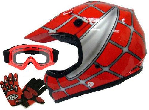 TMS Youth Kids Red Spider Net Dirt Bike Atv Motocross Helmet Wgogglesgloves Medium
