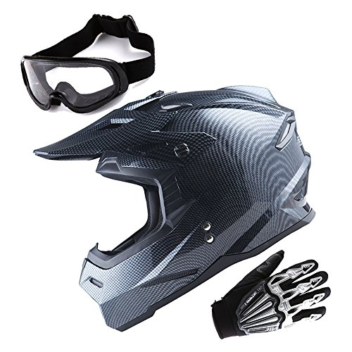 1Storm Adult Motocross Helmet BMX MX ATV Dirt Bike Helmet Racing Style Carbon Fiber Black  Goggles  Skeleton Black Glove Bundle