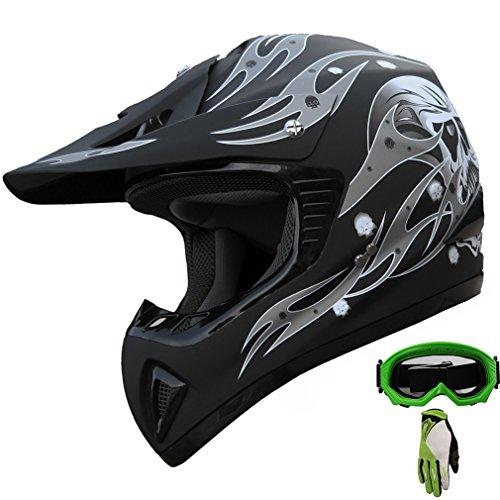 ATV Motocross Helmet Dirt Bike Motorcycle A81 Matt Blackgreen gogglesgloves XL